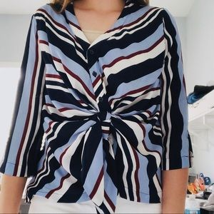NY&Co. || striped twist front blouse